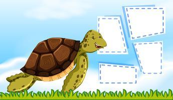 Een schildpad op notitiesjabloon
