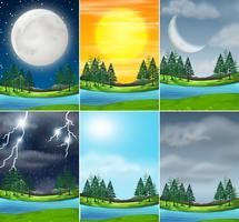 Set van natuur landschap verschillende weer vector