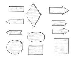 Houten verkeersteken en pijl. Retro gravure plank uithangbord set.