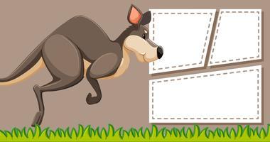 Kangaroo op notitie sjabloon vector