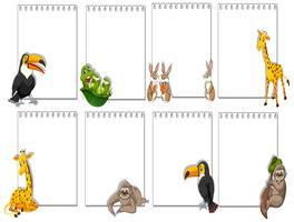 Set van dier op notitie sjabloon