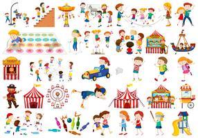 Set van kinderen spelen