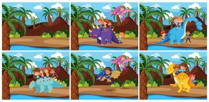 Kinderen die dinosaurus berijden in voorhistorische scène