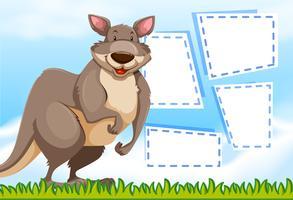 Een kangoeroe op notitiesjabloon vector