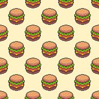 Pixel Art Cheeseburger naadloze achtergrond vector
