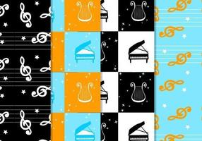 Geruit Muzikale Patroon Vector Pack
