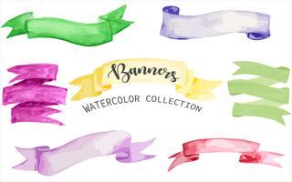 banners collectie in aquarel editie vector