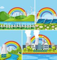 Een set van natuurlijke energiecentrale landschap vector