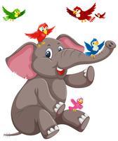 Gelukkige olifant met vogel vector