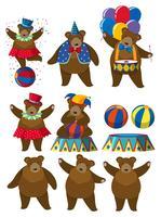 Een set van Bear Circus Character vector