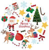 Kerstmiskarakters en ornamenten op witte achtergrond vector