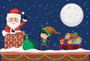 Kerstman die gift door schoorsteen geeft