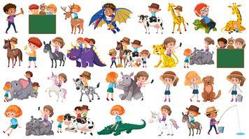 Set van kinderen en dieren vector