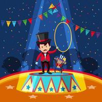 Circustrainer en aap op het podium vector