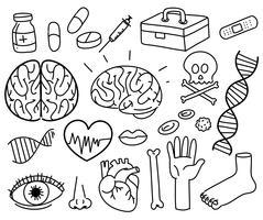 Een set van doodle medische symbool