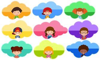 Negen stickermalplaatje met gelukkige kinderen op achtergrondkleuren vector