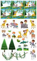 Set van kinderen in de natuur vector