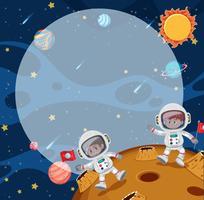 Jonge astronuïeten op de maan vector