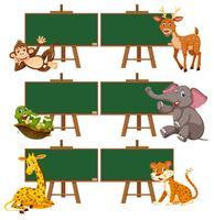 Een set dieren en schoolbord vector