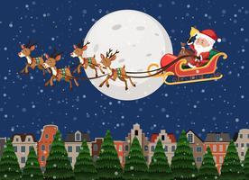 De berijdende slee van de Kerstman over stad