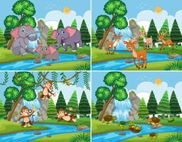 Een reeks van de natuur scène met dieren