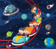 Een leuke achtbaan ruimte vector