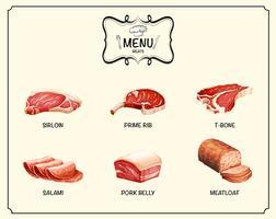 Verschillende soorten vleesproducten vector