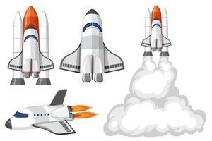 Verzameling van geïsoleerde ruimteschip vector