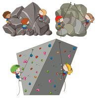 Een reeks rotsklimactiviteiten