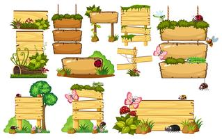 Set van houten borden vector