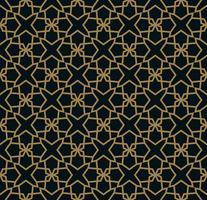 Naadloos patroon van elkaar kruisende dunne gouden lijnen op zwarte achtergrond. Abstract naadloos ornament. vector