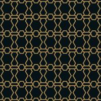 Naadloos patroon van elkaar kruisende dunne gouden lijnen op zwarte achtergrond. Abstract naadloos ornament.