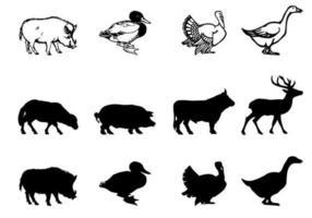 boerderij dieren vector silhouetten pack