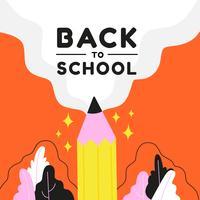 Terug naar school met potlood en bladeren vector