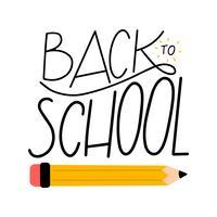 Belettering over terug naar school met potlood vector