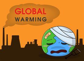De cartoonwereld die ziek is van de rook- en stofemissies van industriële installaties vector