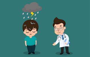 Mannen met bipolaire symptomen of depressie en moeten een psychiater raadplegen vector