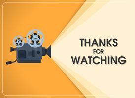 retro filmprojector met tekst bedankt voor het kijken. vector