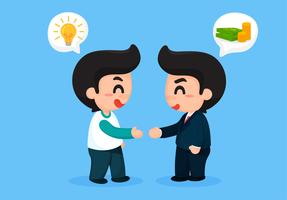 De creatieve man schudde handen met zakenlieden met veel geld. Voor zakelijke voordelen. vector