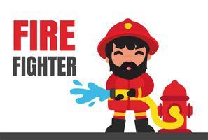 Cartoon brandweerlieden die branden met hoge druk blussen
