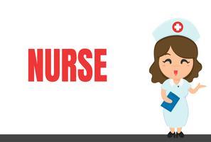 Cartoon carrière. Verpleegster en notebook Tijdens het controleren van de toestand van de patiënt. vector