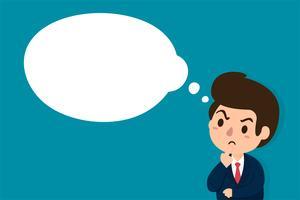 Zakenlieden die sceptisch zijn of beslissingen nemen met een leeg ideeënvak. vector