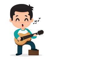 Cartoon jongen spelen muziek en zingen. vector
