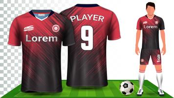 Voetbalshirt, sportshirt of voetbal Kit uniform presentatie mockup sjabloon. vector
