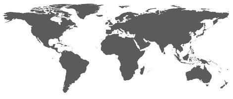 De schaduw van een realistische wereldkaart, een foto van de NASA vector