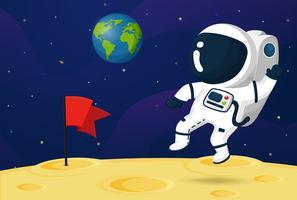 Een astronautbeeldverhaal dat uit ging om de planeten in het zonnestelsel te verkennen. vector