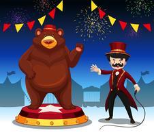 Ringmeester en beer bij circusshow vector