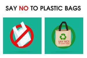 Ideeën om vervuiling te verminderen Zeg nee tegen plastic tas Dat is de reden waarom het broeikaseffect. De campagne om het gebruik van plastic zakken te verminderen. vector