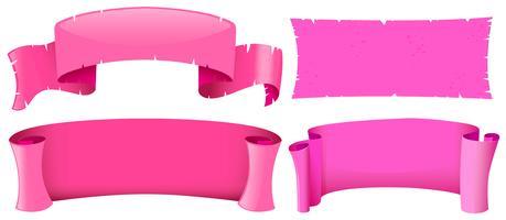 Roze bannermalplaatjes in vier ontwerpen