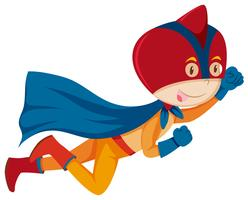 Een superheldenkarakter op witte achtergrond